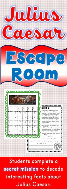 The Julius Caesar Escape Room will take students on a secret mission around the classroom! This escape room has students decode interesting facts about Julius Caesar. This is the perfect resource to introduce or review Julius Caesar, Ancient Rome or Shakespeare. The Julius Caesar Escape Room has students walking around the classroom breaking codes. #ancient #rome #williamshakespeare #shakespeare #escape #activities