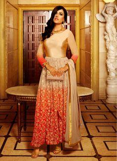 Striking Cream and Orange Embroidered Ankle Length Designer Anarkali Suit