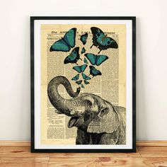 Elephant Jumbo Circus Butterfly Collage Old Newspaper Vintage Printable Wall Art Print Home Sketch Painting, Drawing Sketches, Drawings, Newspaper Crafts, Old Newspaper, Custom Posters, Vintage Posters, Elephant Anatomy, Vintage Elephant