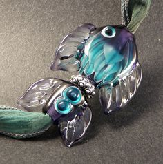 Turquoise & Purple Lotus Petal Art Glass Fish by PeggySudzLampwork, $55.00