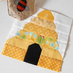 Block 39 - Beehive. A scrapilicious patchwork beehive.