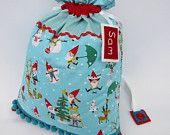 Personalized Christmas Present Sack - Santa's Elves Aqua and Red