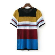 aaf85aff36 Striped Hit Color Round Neck Short Sleeve Knitting T-Shirt ($30) ❤ liked