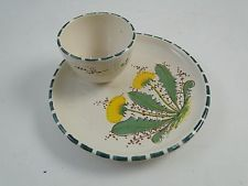 Vintage Thistle Dandelion Egg Cup Tray Dish Art Pottery Hand Painted Signed