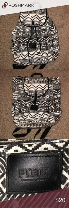 PINK Victoria's Secret Sequin Backpack Black and white sparkly patterned backpack from Pink, in great condition, drawstring PINK Victoria's Secret Bags Backpacks