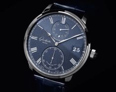 Glashutte Original Senator Chronometer - dark blue dial detail - Perpetuelle. This is so nice. Add to a gift list for sure.