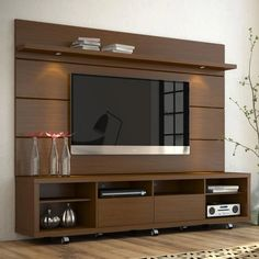 Manhattan Comfort - Cabrini TV Stand and Floating Wall TV Panel with LED Lights in Nut Brown The Cabrini TV Stand and Cabrini Panel combined create a complete Home Theater Entertainment Center! Easily maneuver the Cabrini TV Stand int Tv Unit Furniture Design, Tv Unit Interior Design, Unique Furniture, Tv Cabinet Design, Tv Wall Design, Tv Stands, Modern Tv Wall Units, Tv Unit Decor, Tv Panel
