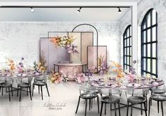 Wedding Arch Rustic, Industrial Wedding, Diy Wedding Decorations, Wedding Centerpieces, Chinese Wedding Decor, Background Decoration, Wedding Illustration, Lilac Wedding, Selfies