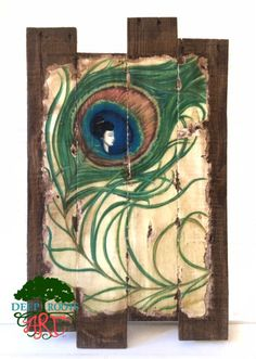 Asian Peacock Feather Pallet Wood Wall Art by DeepRootsArt on Etsy https://www.etsy.com/listing/253029465/asian-peacock-feather-pallet-wood-wall
