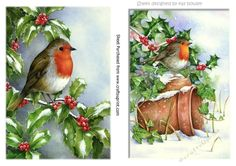 Two lovely A5 christmas card frontstoppers of robins by kay Bowley Two lovely  A5 christmas card frontstoppers of robins makes two lovely cards lots of other card fronts to see  also in designer resources with tags and toppers in lace and ornate