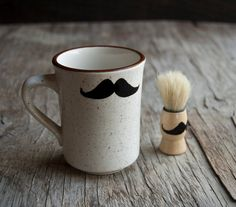 Shaving Set - Mustache Shaving Mug and Shaving Brush Shaving Set, Shaving Brush, Wet Shaving, Custom Packaging, Mustache, Conditioner, Hand Painted, Etsy Shop, Brushes