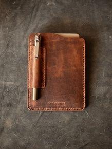 """Dante"" Cognac Handmade Leather Notebook Sleeve"