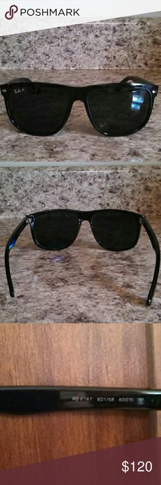 Men's Authentic Ray Ban Polarized Sunglasses Men's Authentic Ray-Ban P Polarized Sunglasses RB 4147 601/58 60 15 3P. Extremely small scratch on the right lens. It will not show in a photo. Very small scuffs left top corner of the frame & back left ear piece. Black frame. RB etched into the left lens. Ray-Ban Accessories Sunglasses