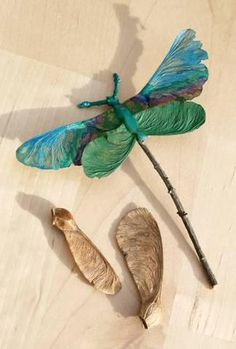 Dragon Fly made with a stick and maple seed    Libellule de brindille et graine d'érable    #upcycle #landart