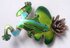 Brooch: Frog  a dandy and a lotus. Silver enamel от ODMIVINTAGE