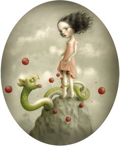 Nicoletta Ceccoli. Find out more about Nicoletta and see more of her intriguing art in her interview at wowxwow.com. (painting, narrative, story, innocence, childhood, maturity, dreams, macabre, mystery, symbolism)