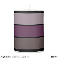 When the sun goes down the lights don't have to go out thanks to Zazzle's Purple candles. Purple Candles, Pillar Candles, Candle Holders, Stripes, Lights, Nice, Design, Home Decor, Decoration Home