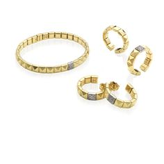 CHIMENTO Armillas Pyramis yellow gold bracelet, ring and earrings with diamonds