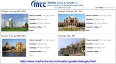Golden Triangle Tour Packages from Chennai, Madras Travels & Tours offers best deal on golden triangle tour packages at the reasonable prices. Golden Triangle is the most popular tourist circuit in India.