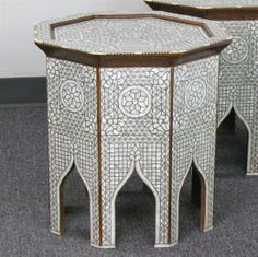 Picture of Style # 1717 - Hand-inlaid Syrian / Moroccan Side table with Mother of pearl.