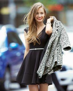 Little Black #Dress & Leopard Prit #Coat from live-breathe-fashion.tumblr.com