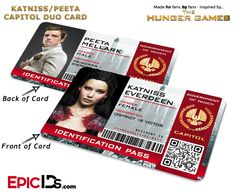 The Hunger Games Inspired Capitol Identification Card - Katniss & Peeta Duo Card