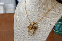 Gold Wire Wrapped Skull Gold Rose Eyes Gold Filled by MummyLust, $45.00