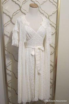 Vintage  Peignoir Set Ivory Negligee & Robe Set 36-38 Bust-Bridal Wedding Night-Aristocraft