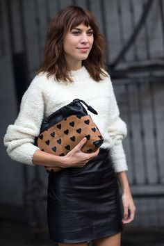 Chic looks from across the pond. London street style here! #streetstyle #chic fashion weeks, fashion models, leather skirts, bag, clutch, street style london, street styles, london fashion, alexa chung