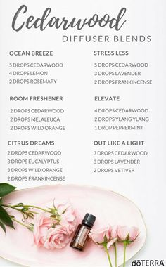 Cedarwood essential oil soothes the mind and body, evokes feelings of wellness and vitality, and promotes relaxation. Diffuse any of these blends for a warm, comforting aroma that will create a calm and peaceful atmosphere.