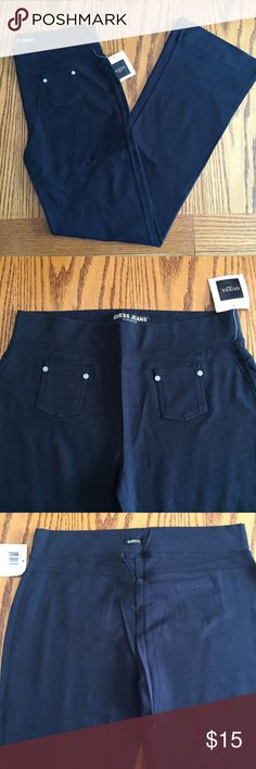 "Guess black cotton pants. Size large.  Guess black cotton/Lycra pants. Size large. 40"" long. 31"" inseam. 9"" cuff Guess Pants Boot Cut & Flare"
