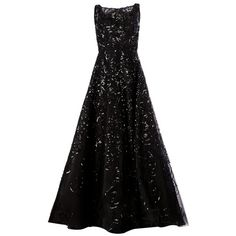 OSCAR DE LA RENTA sequin embroidered flared gown (13,805 CAD) ❤ liked on Polyvore featuring dresses, gowns, maxi dresses, vestidos, black flared skirt, black ball gown, black sequin gown, black circle skirt and skater skirt