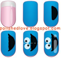 Polished Love ♥: Cookie Monster Nails & Chocolate Chip Cookies nail art* THE REMAKE + Tutorial!