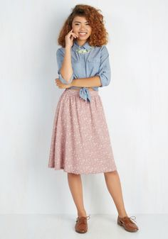 Serenity For Two Skirt. Enjoy a blithe brunch date or an afternoon brew with your best friends adorned in this romantic A-line skirt. #pink #modcloth