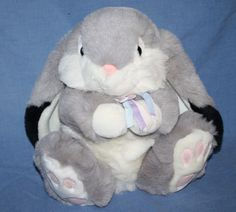 "Chrisha Playful Plush Gray Bunny Fat Rabbit Easter Black Ears 1988 Stuffed 12"" #ChrishaPlayfulPlush #FatBunny"