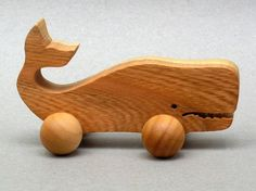Wheeled Whale Toy for Children Organic Wood by ArksAndAnimals, $4.99