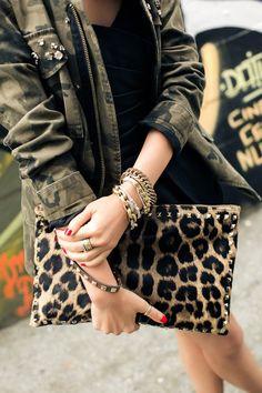 Leopard print clutch, camo jacket, gold bracelets <3