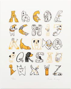 Buy Dog A-Z from The Calm Gallery: In this superb illustration Helen has drawn a whole host of dashing dogs including some of our favourites, the Jack Russell and Dalmation! Screen printed in two colours on textured white fine art paper. Each print has been signed and numbered by the artist in a limited edition of 200 prints. Can you identify all 26 dogs?? Some are trickier than they appear!