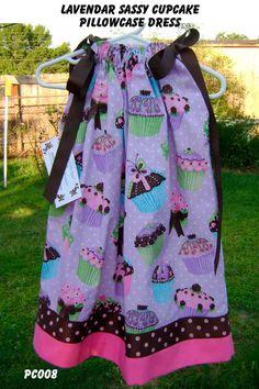 Lavender Sassy Cupcakes Boutique Pillowcase by GiraffesJellybeans, $19.99