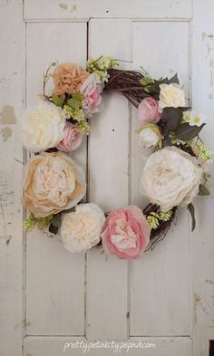 peony coffee filter flower wreath. Would need two for my front doors...would that look ok?