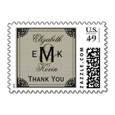 Elegant Vintage Monogram Burlap Wedding Thank You Postage Stamps