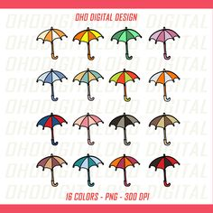 Colors Umbrella Clip art, illustrations PNG, Planner Stickers Commercial Use by OHODIGITAL on Etsy