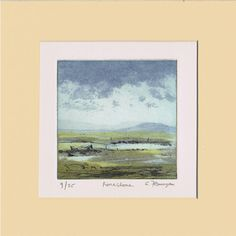 """Items similar to Irish Landscape Art Print on Fabriano paper with water-based inks, Original, Limited Edition """"Foreshore"""" on Etsy Landscape Prints, Landscape Art, Irish Landscape, Irish Art, Art Prints, Paper, Handmade Gifts, Etsy, Vintage"""