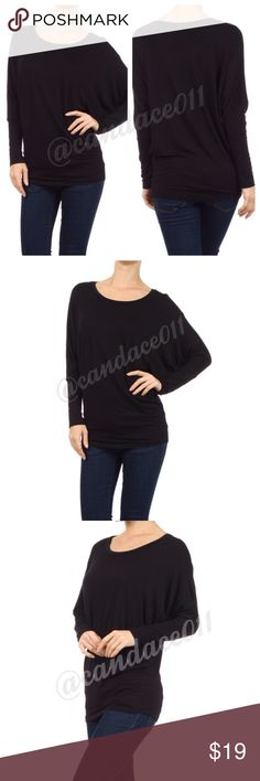 Long Sleeved Dolman Top (Black) ❇️Bundle to save 15%!❇️ 🔹Scoop neckline 🔹95% Polyester, 5% Spandex 🔹Loose in the torso. Fitted at the hip. 🇺🇸Made in the USA🇺🇸 🔹Size Recommendations: (S) 2-4; (M) 6-8; (L) 10-12; (XL) 14-16; (2X) 18-20; (3X) 22-24 CC Boutique  Tops Tees - Long Sleeve