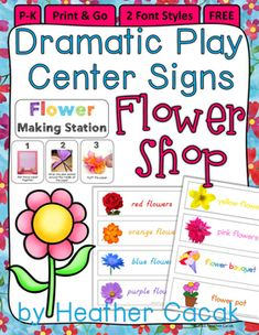 FREE dramatic play area signs for your classroom FLOWER SHOP! Simply print & post them in the area.  I like to laminate mine so I can…