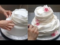Beautiful Ruffle CAKE Pastel Novia Con Volantes Fondant by Cakes Ruffle Cake - How to make a beautiful and easy fondant ruffle cake. Tutorial by Cakes StepbyStep. Ruffle Cake- How To - Como Hacer Una Torta Hermosa - this is a great tutorial. Cake Decorating Techniques, Cake Decorating Tutorials, Cookie Decorating, Decorating Hacks, Pretty Cakes, Beautiful Cakes, Amazing Cakes, Food Cakes, Cupcake Cakes