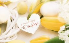 Scarica sfondi Buona Pasqua, tulipani gialli, uova decorate, Pasqua, nido