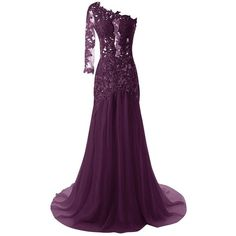 JAEDEN Women's One Shoulder Sexy Mermaid Evening Prom Dress Party Gown ($55) ❤ liked on Polyvore featuring dresses, holiday party dresses, prom dresses, cocktail dresses, purple prom dresses and sexy purple dresses