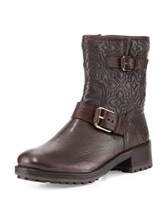 530451df7f6007 Tory Burch Chrystie Trapunto-stitched ankle boot Brown Boots
