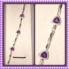 "Zales Amethyst Bracelet Beautiful amethyst bracelet with diamonds ... Still in box never worn. No tags though. 7""long Jewelry Bracelets"
